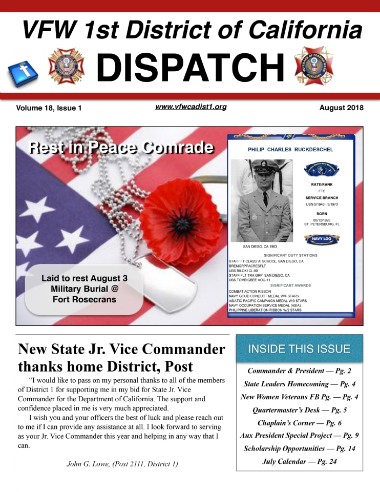 August 2018 District Dispatch